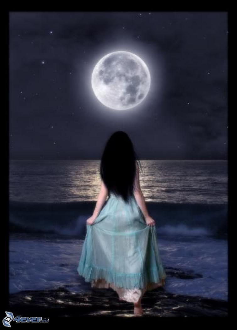 tjej, måne över huvudet, hav, fullmåne