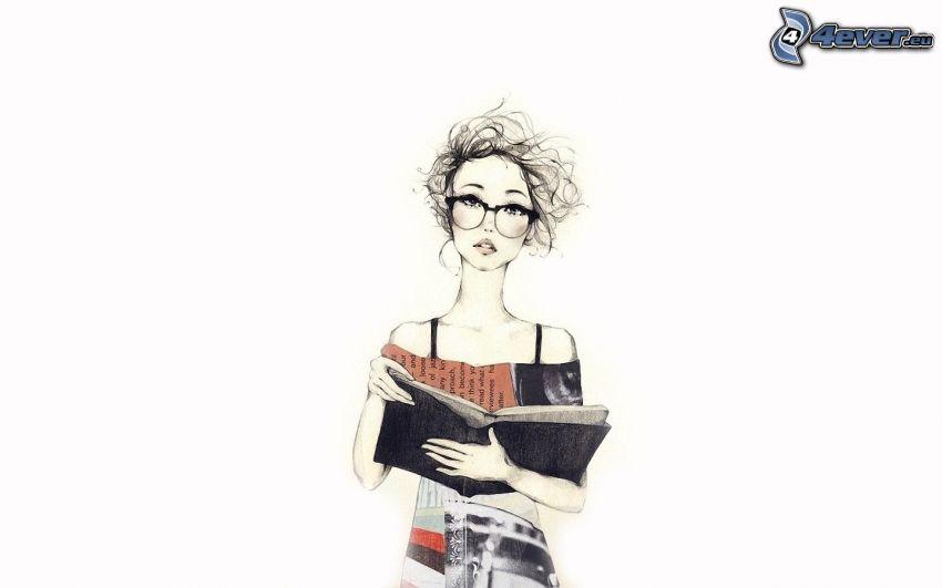 tjej med glasögon, flicka med bok