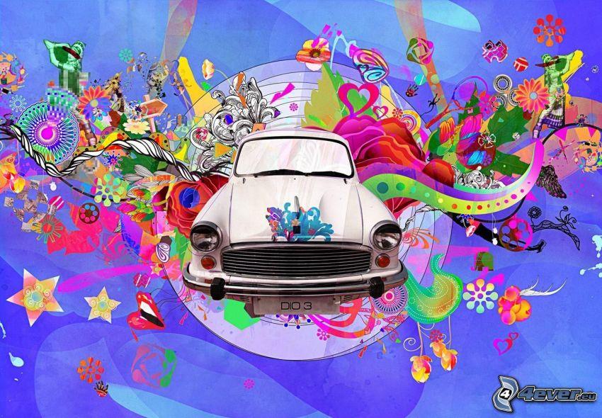 Trabant, tecknad bil, abstrakt, färgat