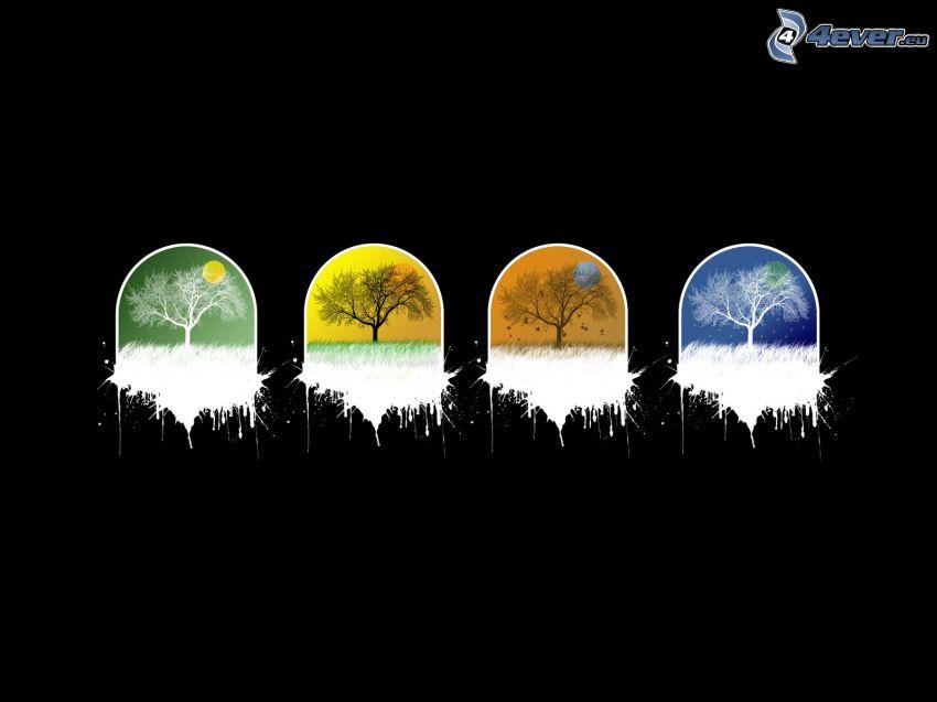 träd, årssäsonger