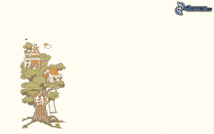 träd, hus i träd