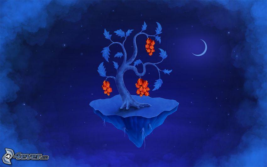 träd, ö, natt, måne