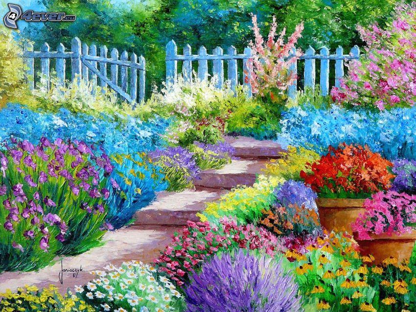 trädgård, färgglada blommor, trappor, staket