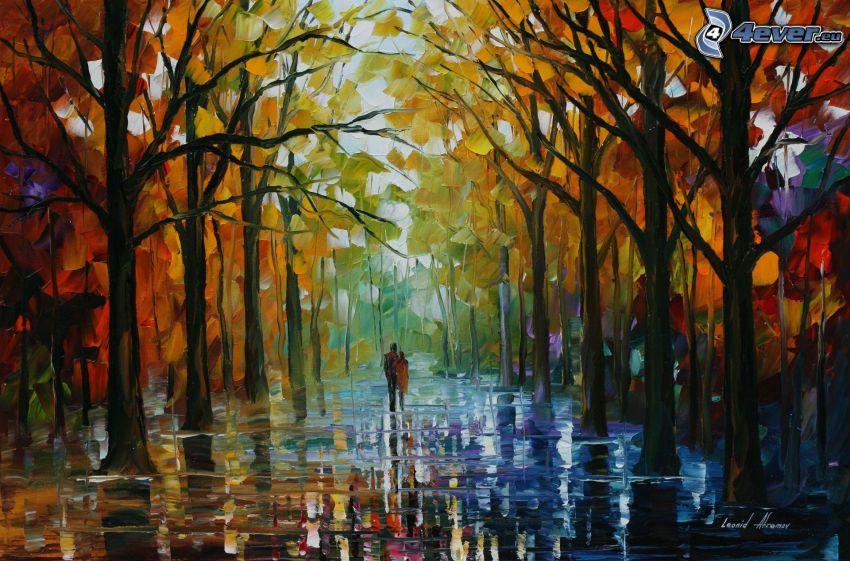 trädgränd, par i park, oljemålning