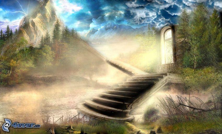 trappor, klippigt berg, flod