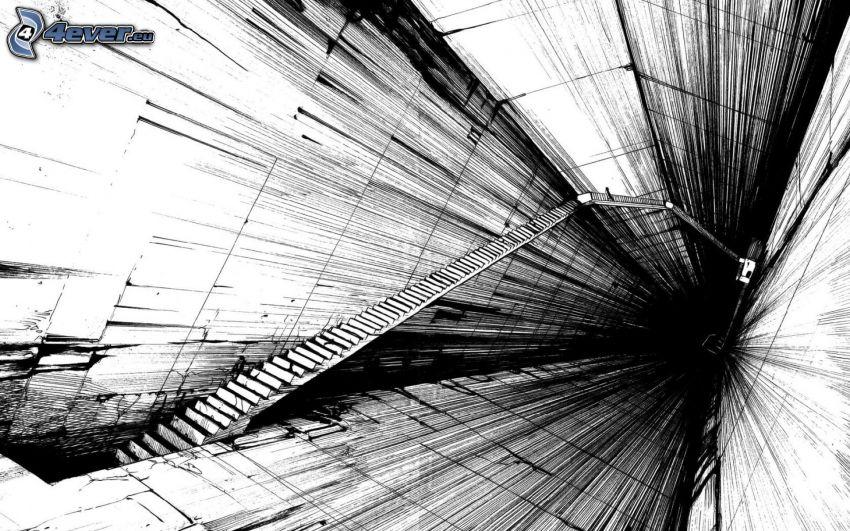 trappor, korridor, figur, svart och vitt