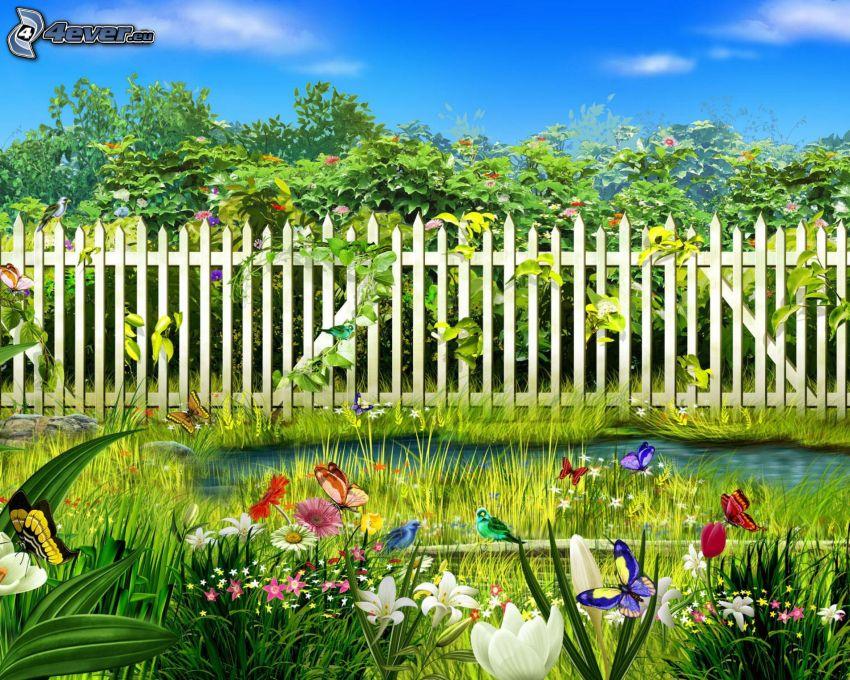 trästaket, blommor, träd, fjärilar