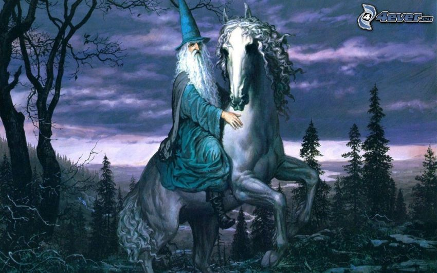 trollkarl, druid, vit häst