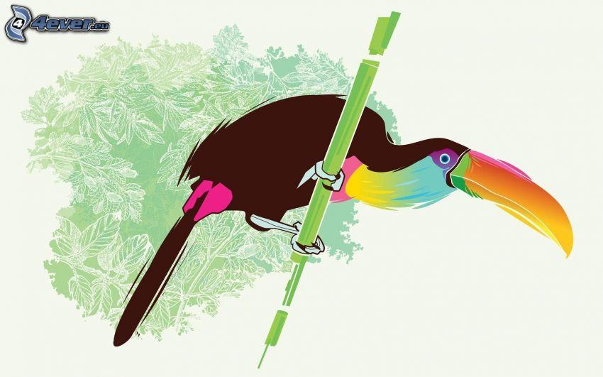 tukan, tecknad fågel