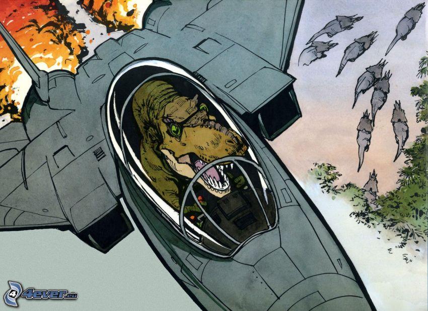 Tyrannosaurus, F-15 Eagle, parodi