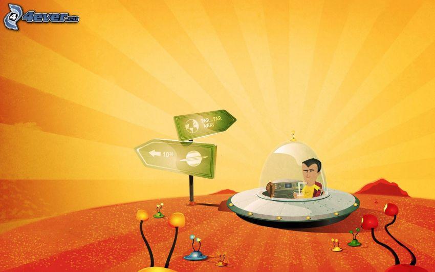 UFO, tecknad kille, utomjordingar, skylt