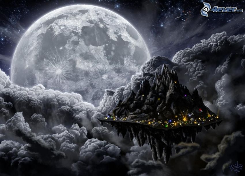 universum, flygande ö, måne