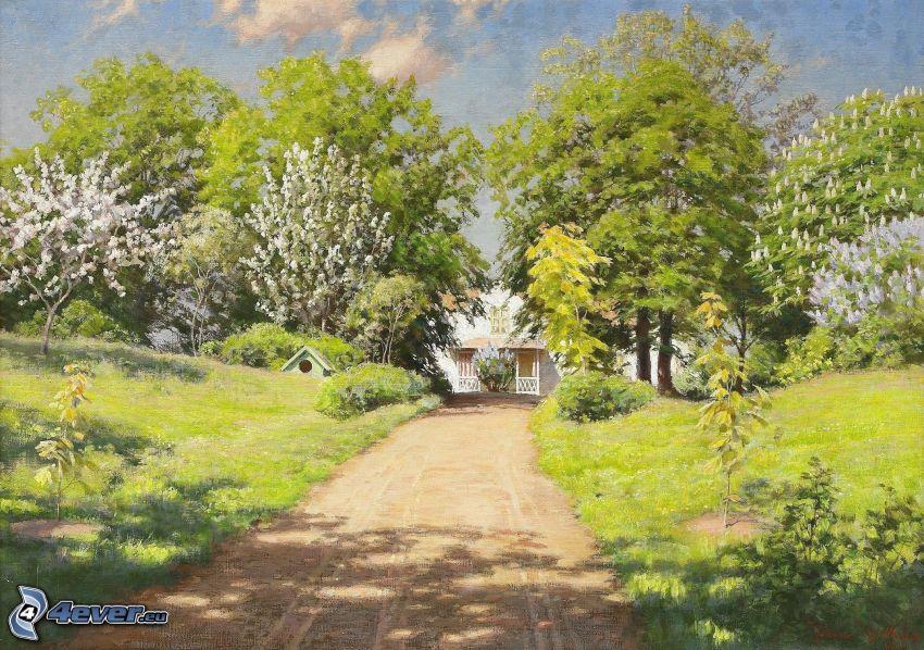 väg, träd, hus, målning