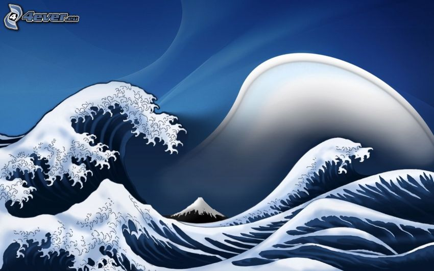 vågor, hav, blå bakgrund