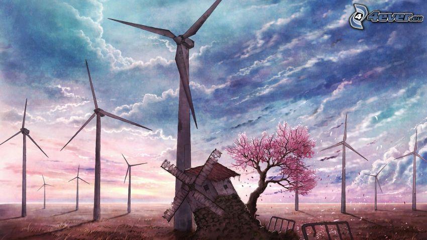 vindkraftsverk, väderkvarn, moln