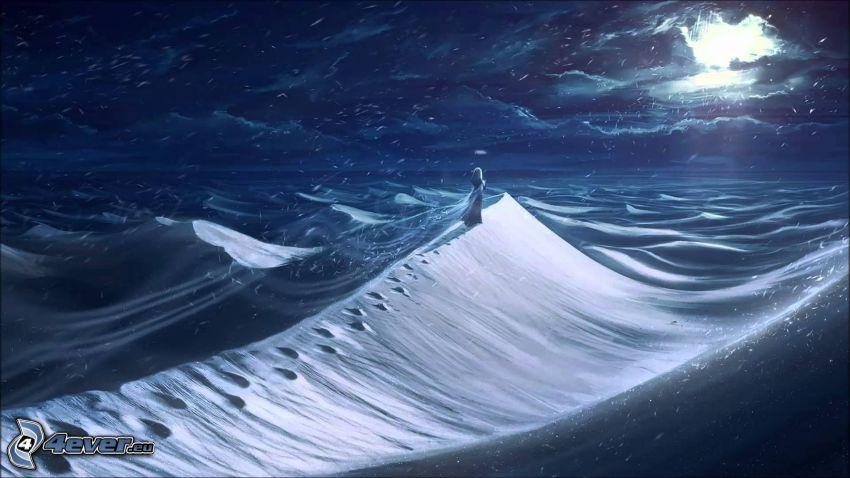 vinterlandskap, tjej, natt