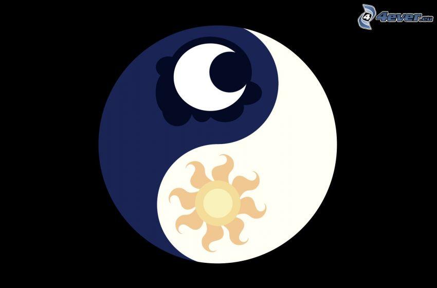 yin yang, måne, sol