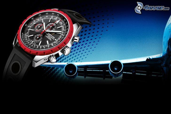 analoga armbandsur, flygplansvingar