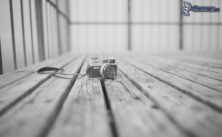 kamera, Canon, svart och vitt, trägolv