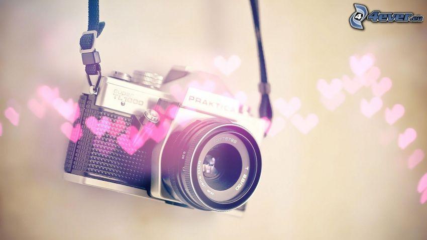 kamera, hjärtan
