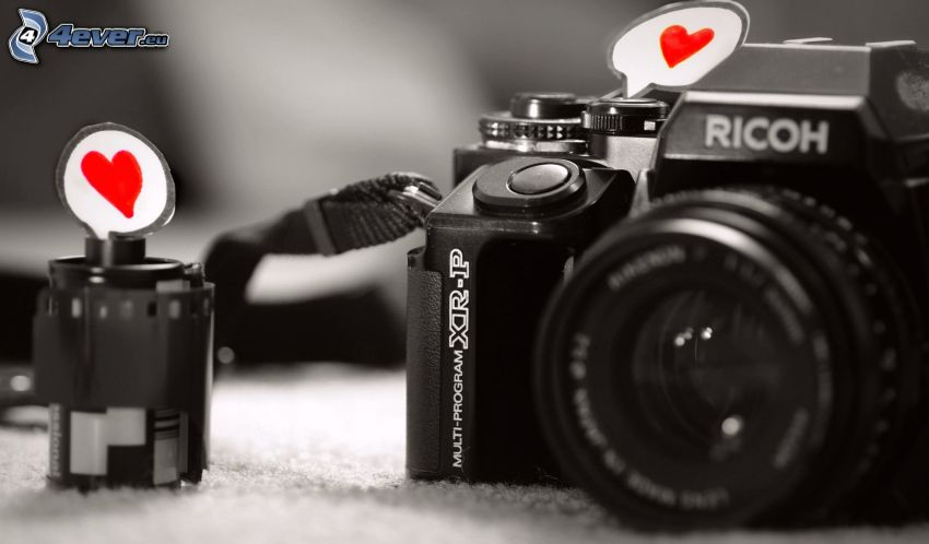 kamera, röda hjärtan