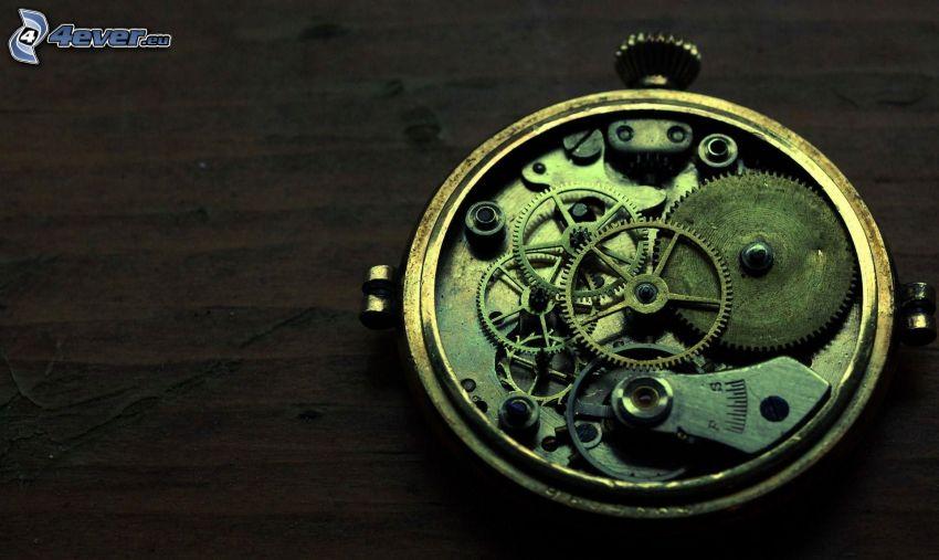 klocka, kugghjul, komponenter