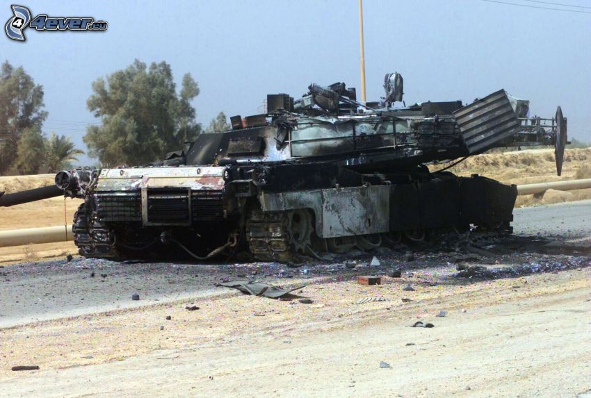 förstörd tank, M1 Abrams