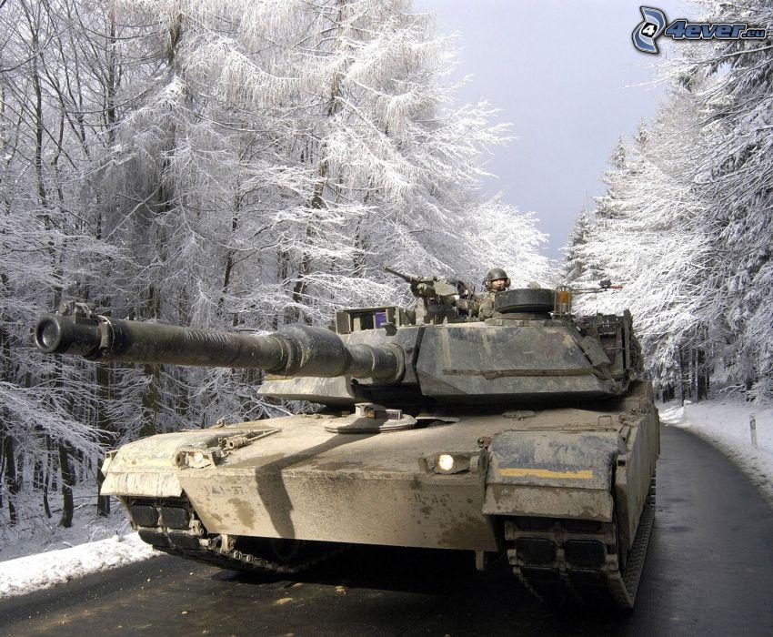 M1 Abrams, tank, snöig skog
