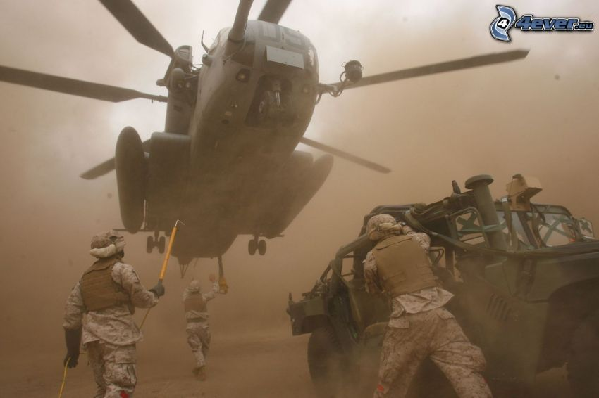 militär helikopter, militärer