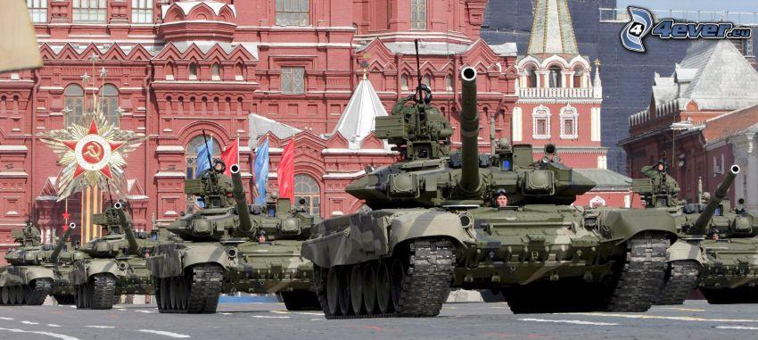militärparad, tankar, Kremlin, Ryssland