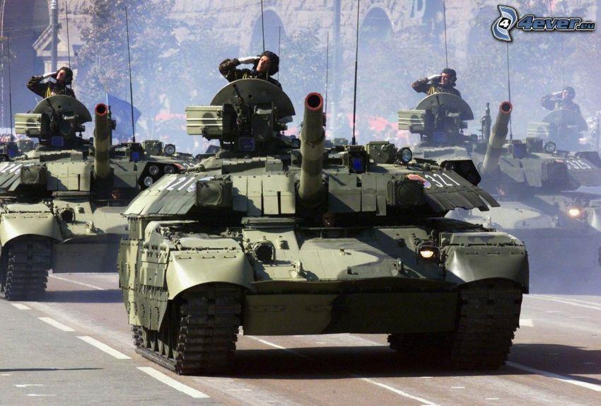 militärparad, tankar, militärer