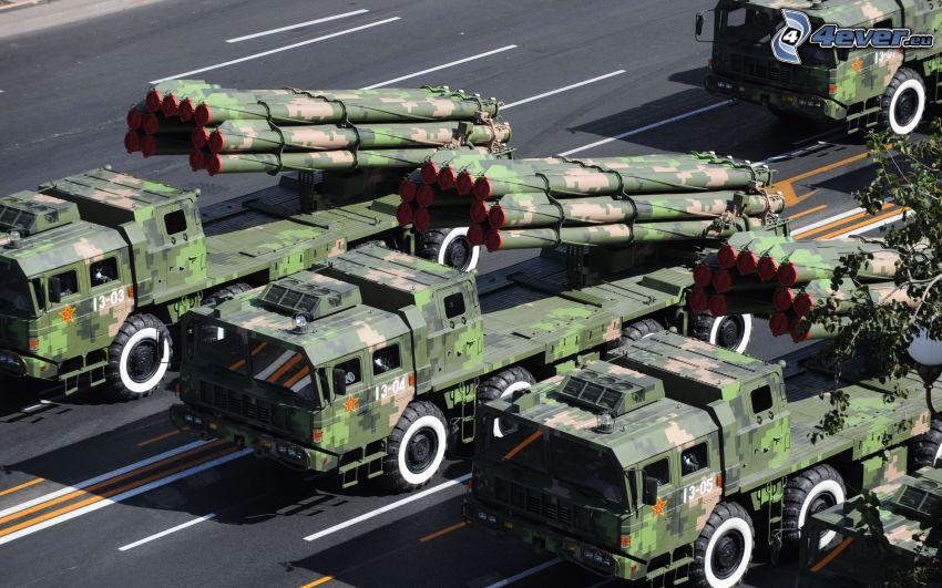 raketer, militärparad, militär teknik