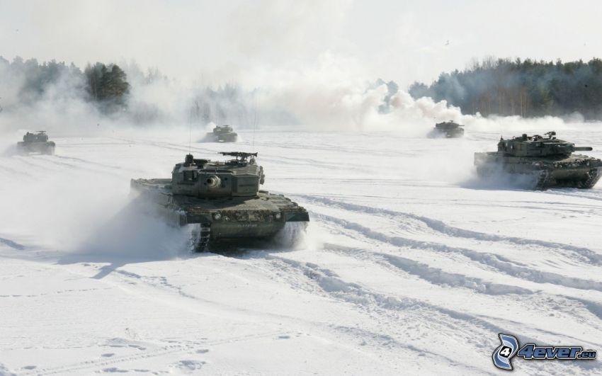 tankar, Tiger, snö, Wehrmacht, Andra världskriget