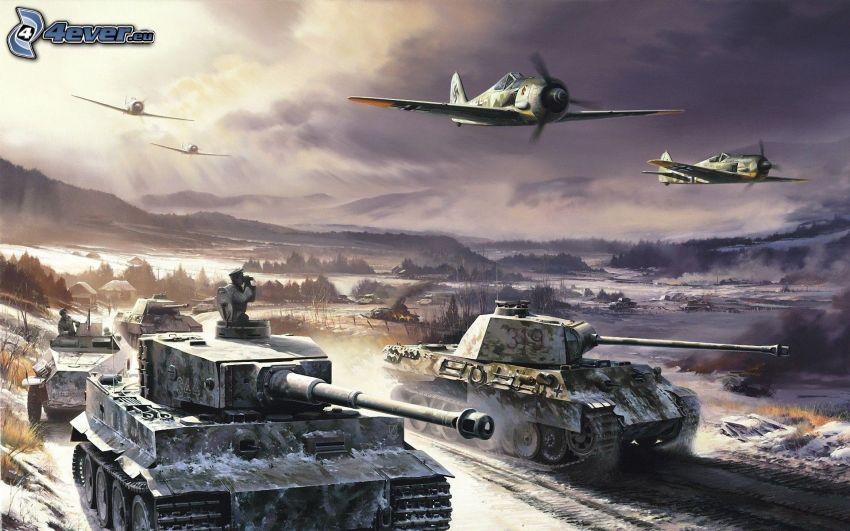 Wehrmacht, Andra världskriget, tankar, flygplan, Tiger