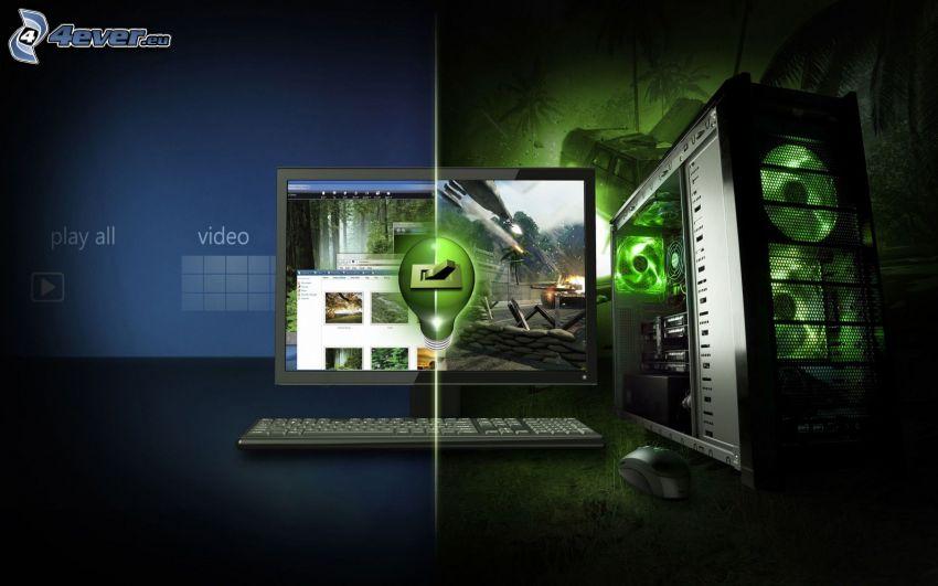 nVidia, dator, bildskärm, tangentbord, mus