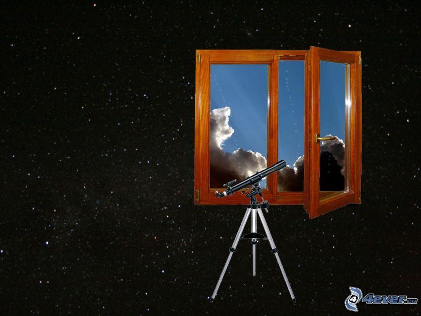 teleskop, fönster, himmel, moln