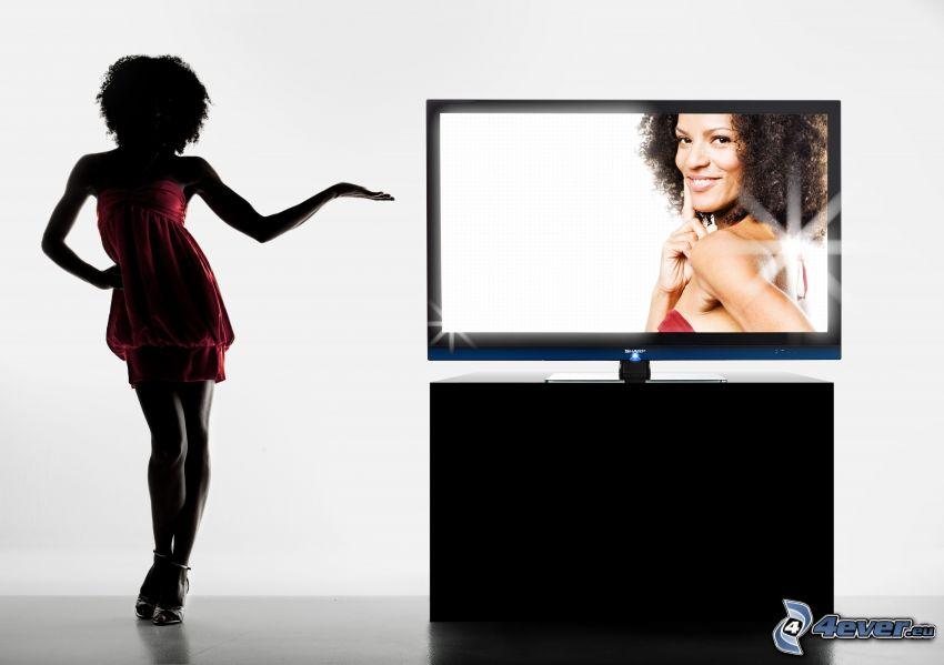 TV, Sharp, mörkhyad kvinna