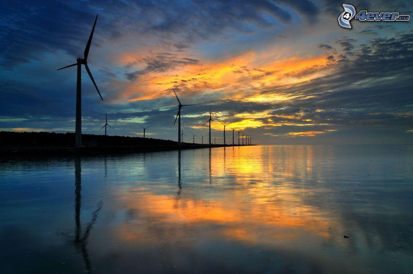 vindkraftsverk, kvällshimmel, hav