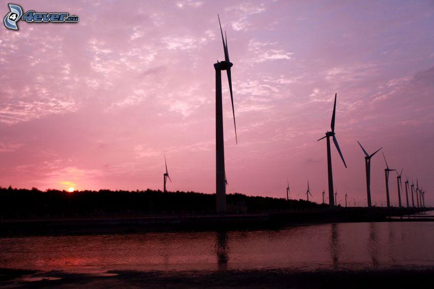 vindkraftverk vid solnedgång, lila himmel