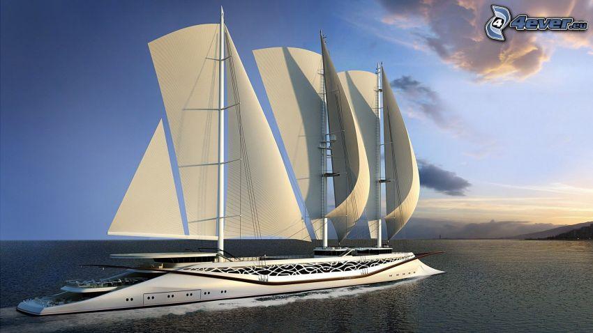 båt, hav, segelbåt