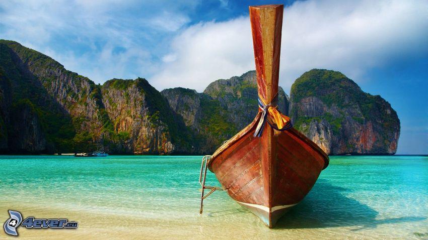 båt, klippiga berg, hav