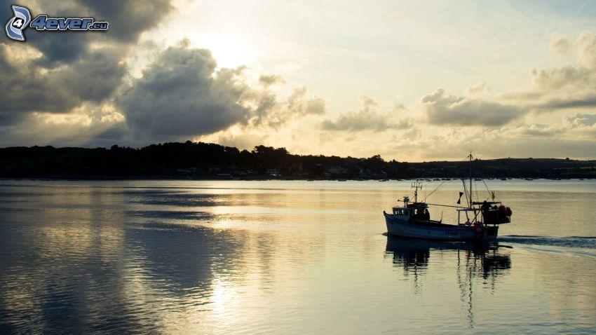 båt, sjö, himmel, moln