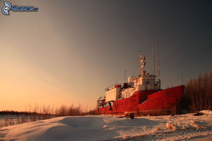 båt, snö