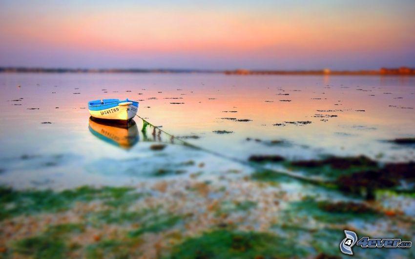 båt på sjö, diorama