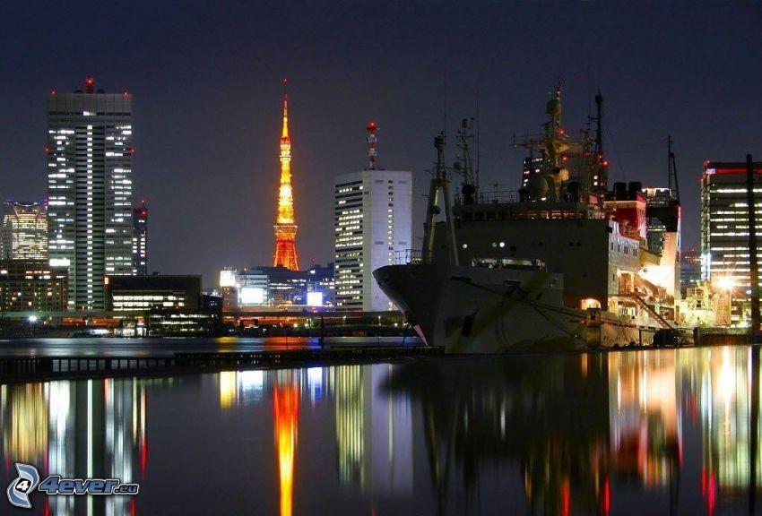 fraktfartyg, hamn, Tokyo, nattstad, Tokyo Tower, spegling