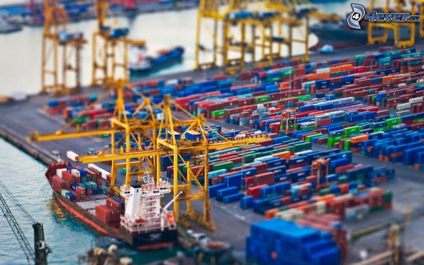 hamn, fraktfartyg, diorama