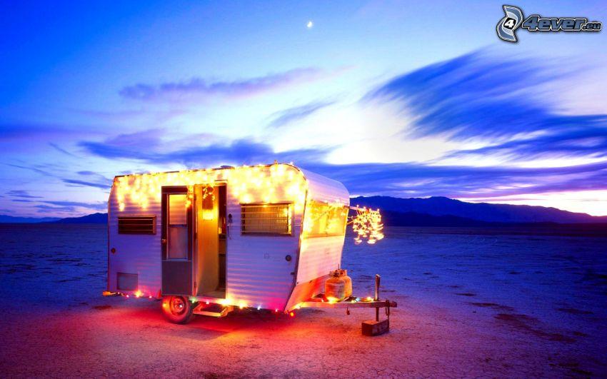 husvagn, belysning, bergskedja, kväll