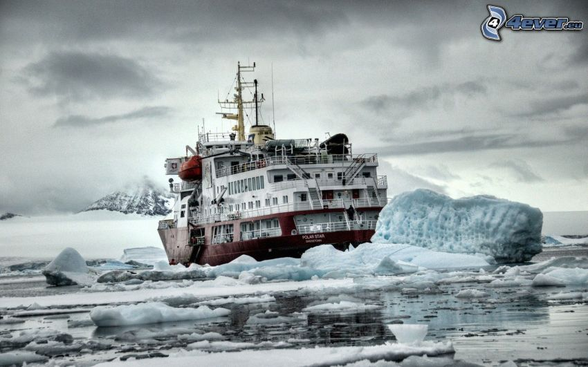 isbrytare, båt, isflak