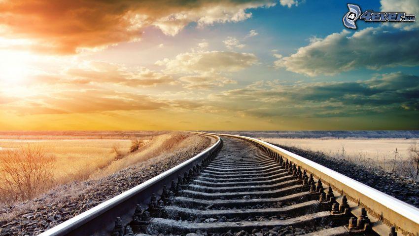 järnväg, moln