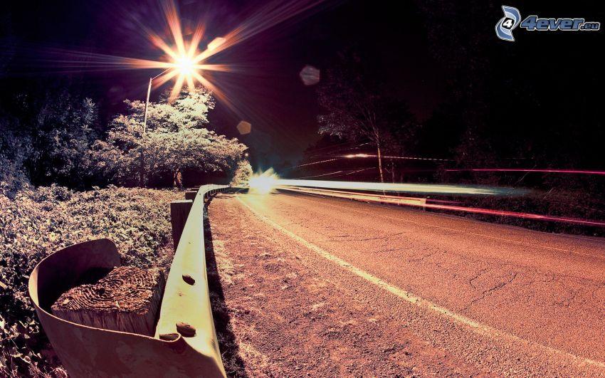 nattresa, gata, belysning, lampa